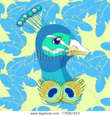 Seamless Pattern Bird Peacock Feather. Vector Illustration