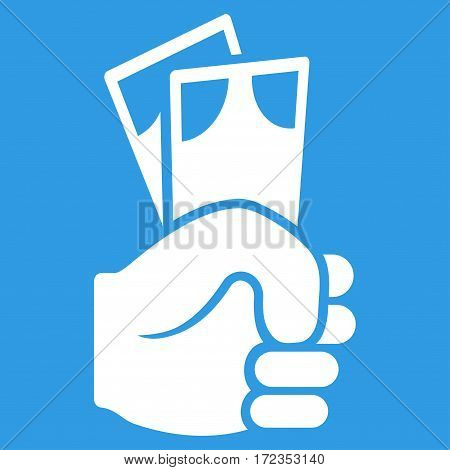 Banknotes Salary Hand vector icon. Flat white symbol. Pictogram is isolated on a blue background. Designed for web and software interfaces.
