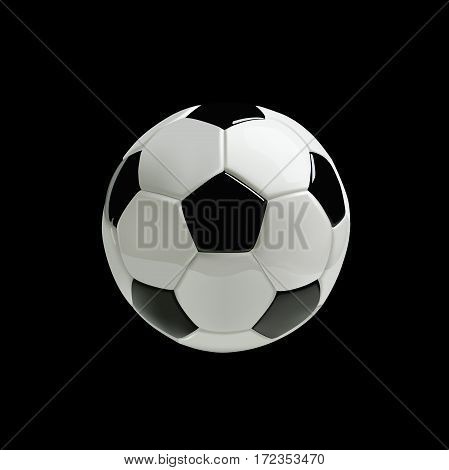 Realistic soccer ball on black background. Vector