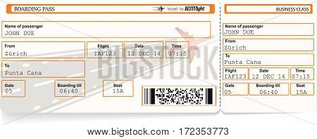 Pattern of airline boarding pass ticket with bar code. Isolated on white. Vector illustration