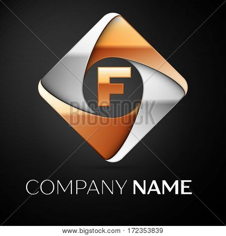 Letter F vector logo symbol in the colorful rhombus on black background. Vector template for your design