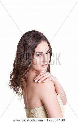 Portrait of Fresh and Beautiful brunette woman wearing white towel