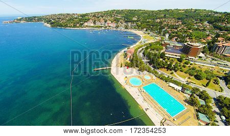 aerial view of beach and the city of portoroz, slovenia