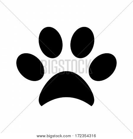 paw print isolated on white, black and white