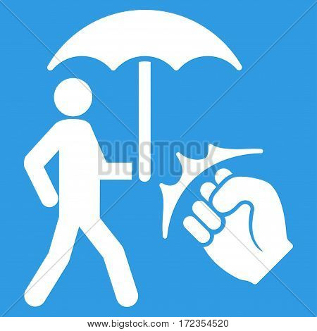 Crime Coverage vector icon. Flat white symbol. Pictogram is isolated on a blue background. Designed for web and software interfaces.