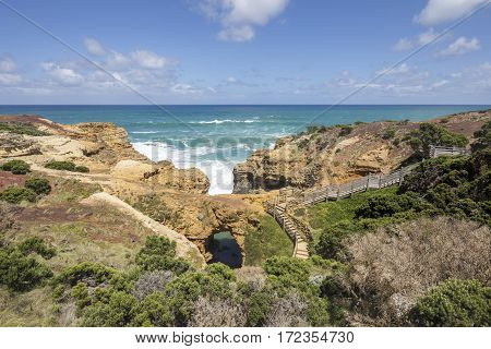 The Grotto is a sinkhole geological formation and tourist attraction, found on the Great Ocean Road outside Port Campbell in Victoria, Australia.