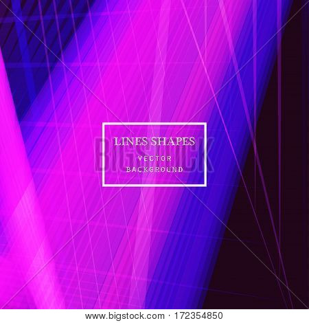 Modern technology striped abstract background vector. Pink blue stripes waves lines for presentation banner brochure poster website and flyer design. Contrast colors grid