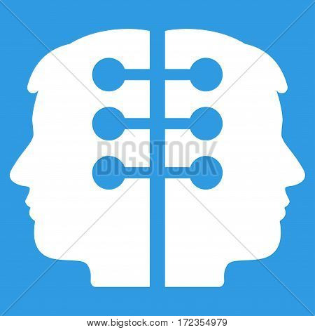 Dual Head Interface vector icon. Flat white symbol. Pictogram is isolated on a blue background. Designed for web and software interfaces.