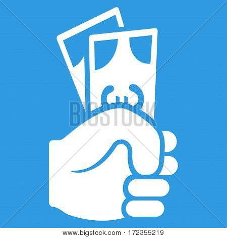 Euro Banknotes Salary vector icon. Flat white symbol. Pictogram is isolated on a blue background. Designed for web and software interfaces.