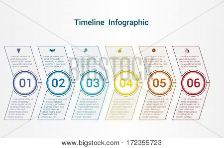 Timeline or area chart diagram data Elements For Template infographics 6 position. Business strategy.