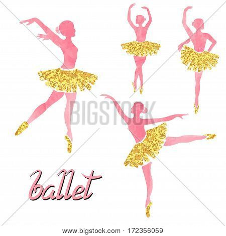 Vector set of of ballerinas in pink and gold colors. Poses of ballet.
