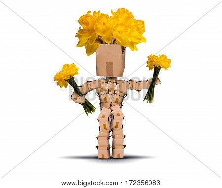 Boxman holding yellow flowers and has daffodils for hair. Isolated on a white background. Flower delivery or gift concept