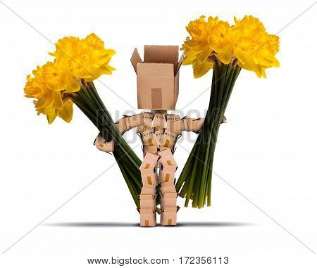 Boxman holding large bunches of daffodils. Cut yellow flowers and a cute character made from boxes on a white background