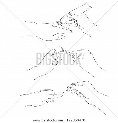 vector hands with nail file, cream tube and nail polish, manicure process, line drawing isolated symbols at white background