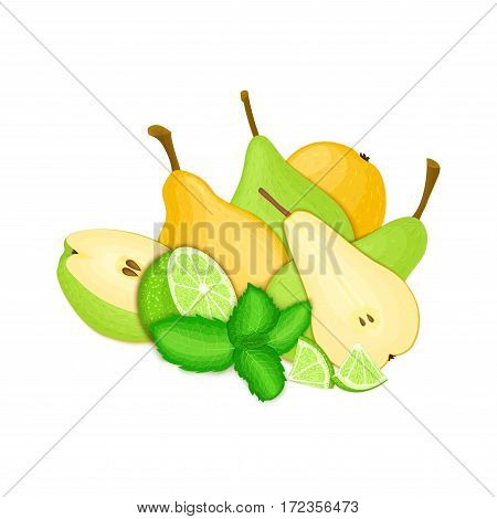 Composition of several pears citrus lime and mint leaves Yellow and green vector pear fruits whole and slice tropical lemon fruit with pepper mint leaf for design of juice breakfast healthy vegan food