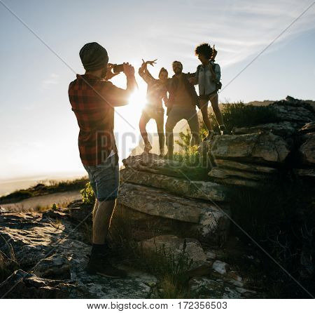 Friends On Hike Together In The Countryside