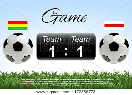 Scoreboard concept. Soccer or football ball with score