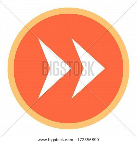 Use it in all your designs. Arrow sign in circular icon created in flat style. Quick and easy recolorable graphic element in technique vector illustration