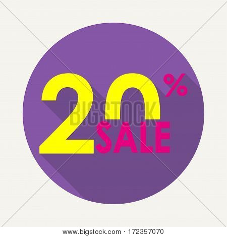Sale 20% and discount price sign or icon. Sales design template. Shopping and low price symbol. Colorful vector illustration.