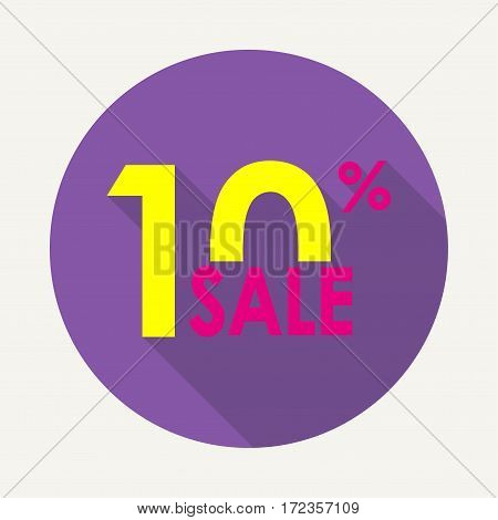 Sale 10% and discount price sign or icon. Sales design template. Shopping and low price symbol. Colorful vector illustration.