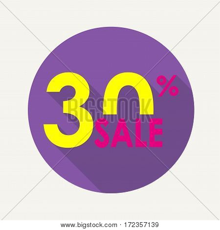 Sale 30% and discount price sign or icon. Sales design template. Shopping and low price symbol. Colorful vector illustration.