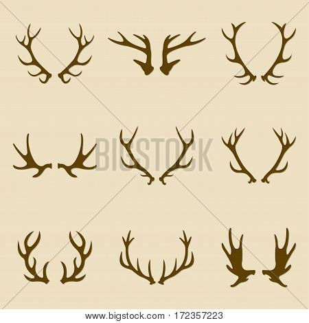 Deer antlers icon set. Horns icon collection. Vector illustration.