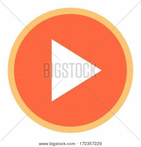 Use it in all your designs. Arrow sign in circular play icon created in flat style. Quick and easy recolorable graphic element in technique vector illustration