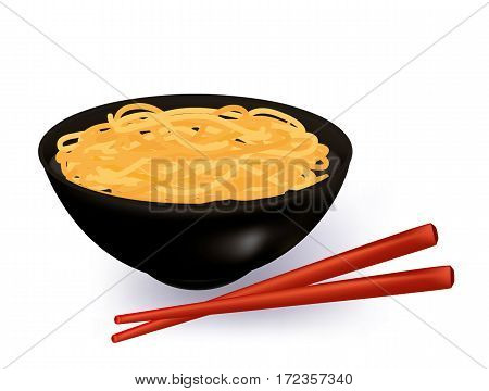 Bowl of noodles soup on white background