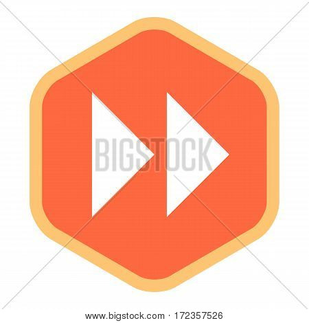 Use it in all your designs. Arrow sign in fast forward hexagon icon created in flat style. Quick and easy recolorable graphic element in technique vector illustration