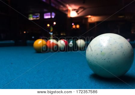 Close up of snooker balls on snooker table.