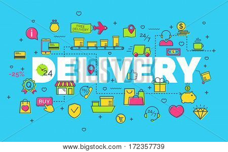 Delivery concept with modern thin line flat icons on blue background. Creative idea concept. Art style design for business idea, website banner. Vector Illustration
