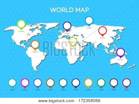 World map with pointer isolated on blue background. Vector Illustration