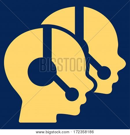 Call Center Operators vector icon. Flat yellow symbol. Pictogram is isolated on a blue background. Designed for web and software interfaces.