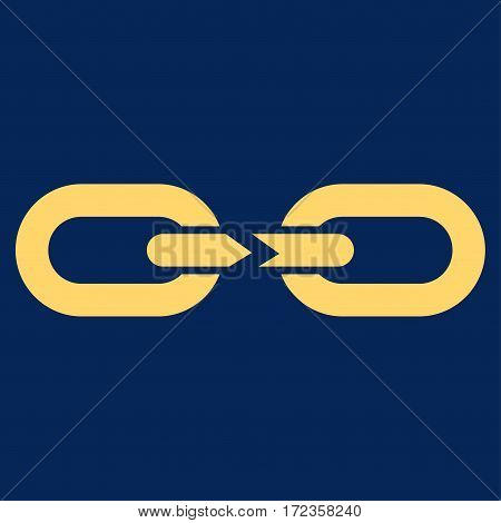 Chain Break vector icon. Flat yellow symbol. Pictogram is isolated on a blue background. Designed for web and software interfaces.