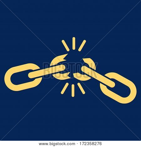 Chain Damage vector icon. Flat yellow symbol. Pictogram is isolated on a blue background. Designed for web and software interfaces.