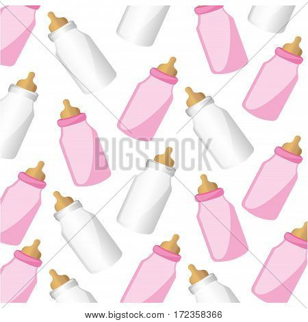 color silhouette pattern baby bottles with suck vector illustration