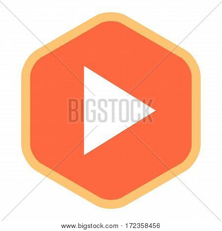 Use it in all your designs. Arrow sign in play hexagon icon created in flat style. Quick and easy recolorable graphic element in technique vector illustration