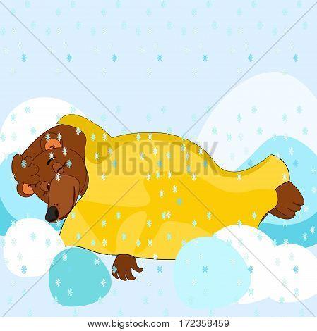 Cartoon Bear Is Sleeping Under Blanket Under The Snowflakes Card Vector Illustration