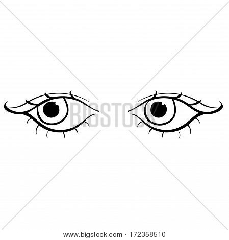 Eyes Young Female Silhouette Look Left. Vector Illustration