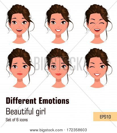 Woman with different face expressions. Young attractive girl with various emotions. Cute businesswoman. Set of six vector illustrations.