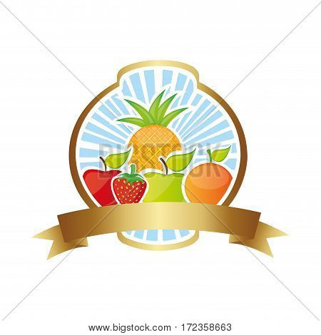 colorful silhouette rounded heraldic border with still life fruits vector illustration