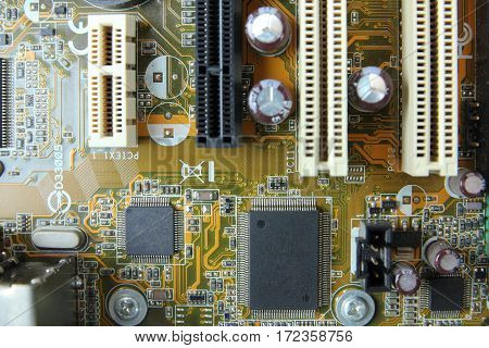 Close-up of old electronic circuit with processor