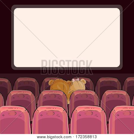 Vector illustrations of teddy bears are watching a movie
