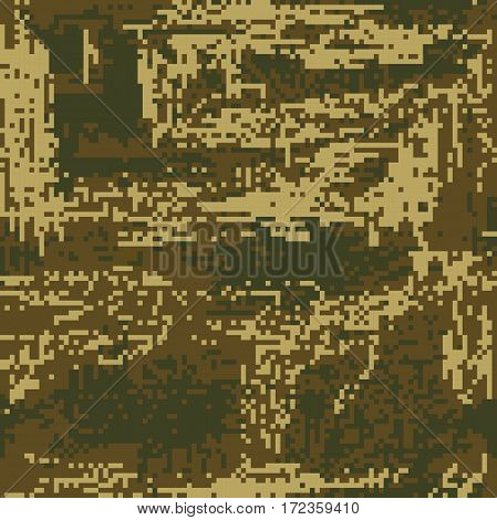 Protective Camouflage Green Coloration Pixel Fatherland. Vector Illustration