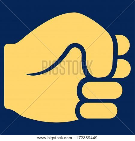 Fist vector icon. Flat yellow symbol. Pictogram is isolated on a blue background. Designed for web and software interfaces.
