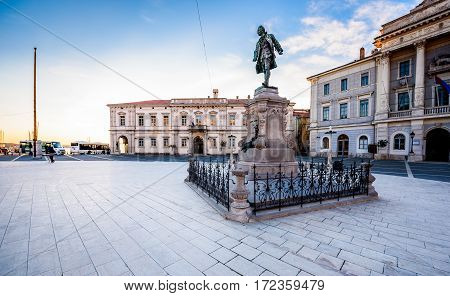 Tartini Square in Piran Slovenia features a monument dedicated to Giuseppe Tartini created by Antonio Dal Zòtto (1852-1918) in the year op 1896. Tartini square with town hall and City Library in Piran. The main market of Piran - old medieval town and majo