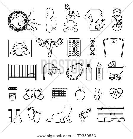 Pregnant woman and pregnancy line icons. Outline body and birth baby, newborn and scale signs. Childbirth and newborn, collection of linear icons. Vector illustration