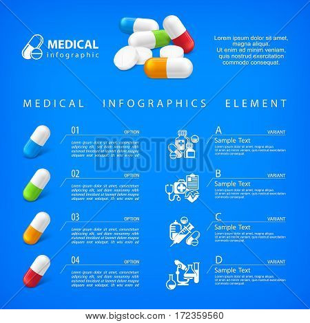 Medical Pill Infographic On Blue