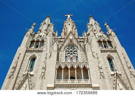 Temple of the Sacred Heart of Jesus on Tibidabo mountain Barcelona Spain Europe
