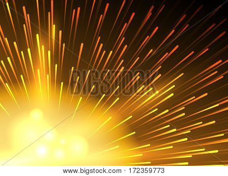 Yellow star lighted exploding vector background. Lighting starlight explode wallpaper. Magical radiate explode ray light illustration